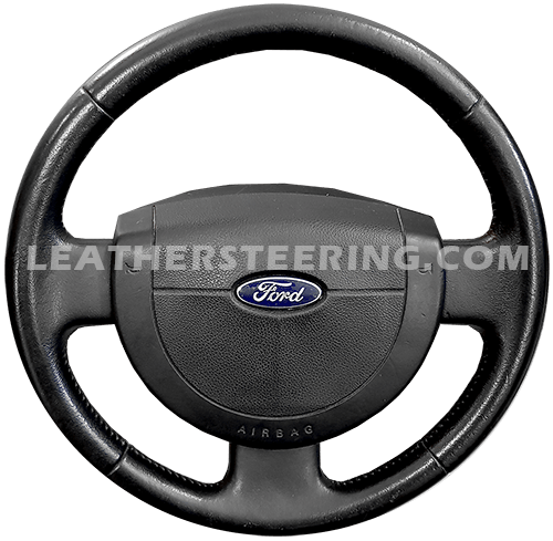FITS FORD FIESTA MK6 2002-2008 BLACK LEATHER STEERING WHEEL COVER DOUBLE STITCH