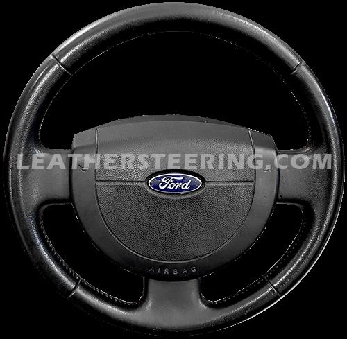 Couvre volant en cuir noir pour Ford Fiesta MK5 2002-2008