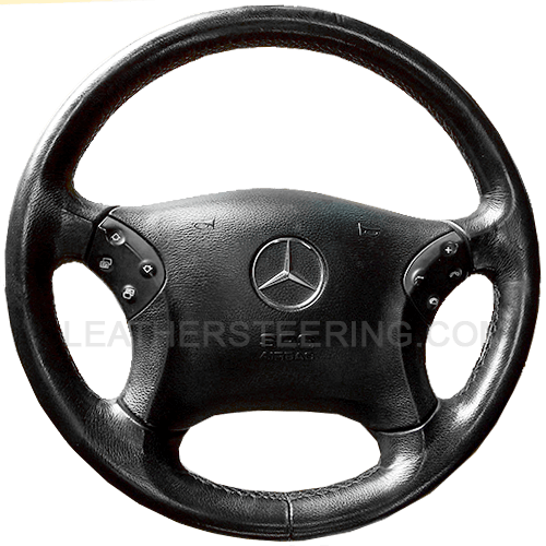 Leather steering wheel cover for the Mercedes C Class W203