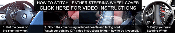 How to stitch leather steering wheel cover on the AUDI A4 B6, E82 steering wheel.